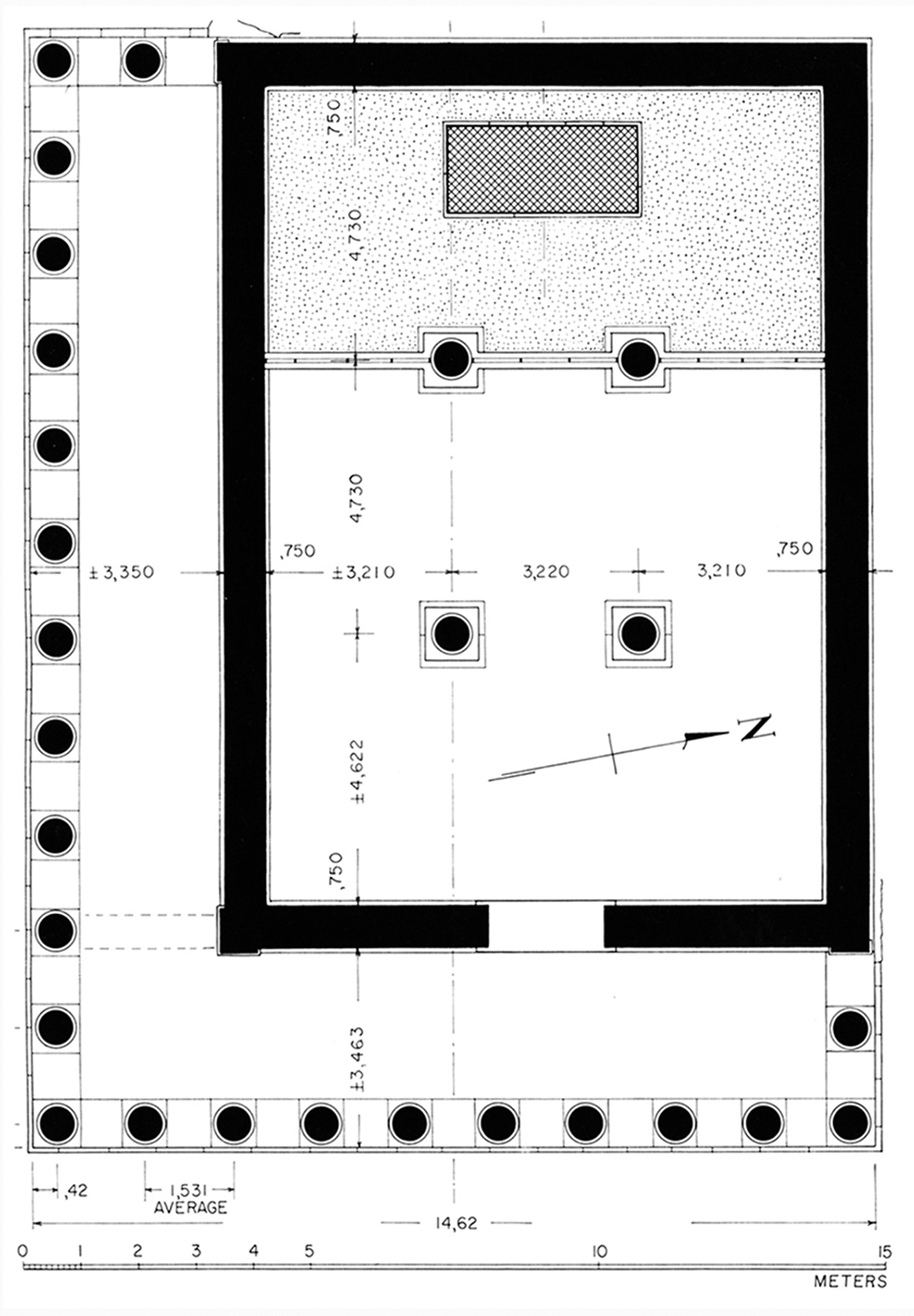 Figure 2 : plan restitué du grand temple d'Athéna (BAB, p. 95, fig. 98).