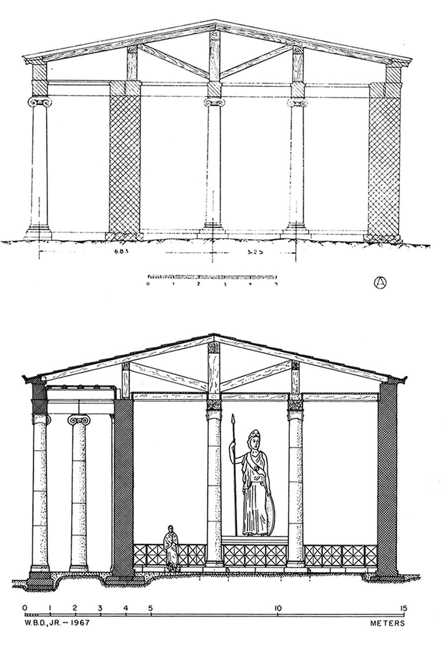 Figure 4 : temple d'Athéna, coupe Sud-Nord et restitution des charpentes: en haut selon Orlandos, Staïs 1917, p. 7; en bas, selon W. B. Dinsmoor, Jr (BAB, p. 101, fig.102‑103)