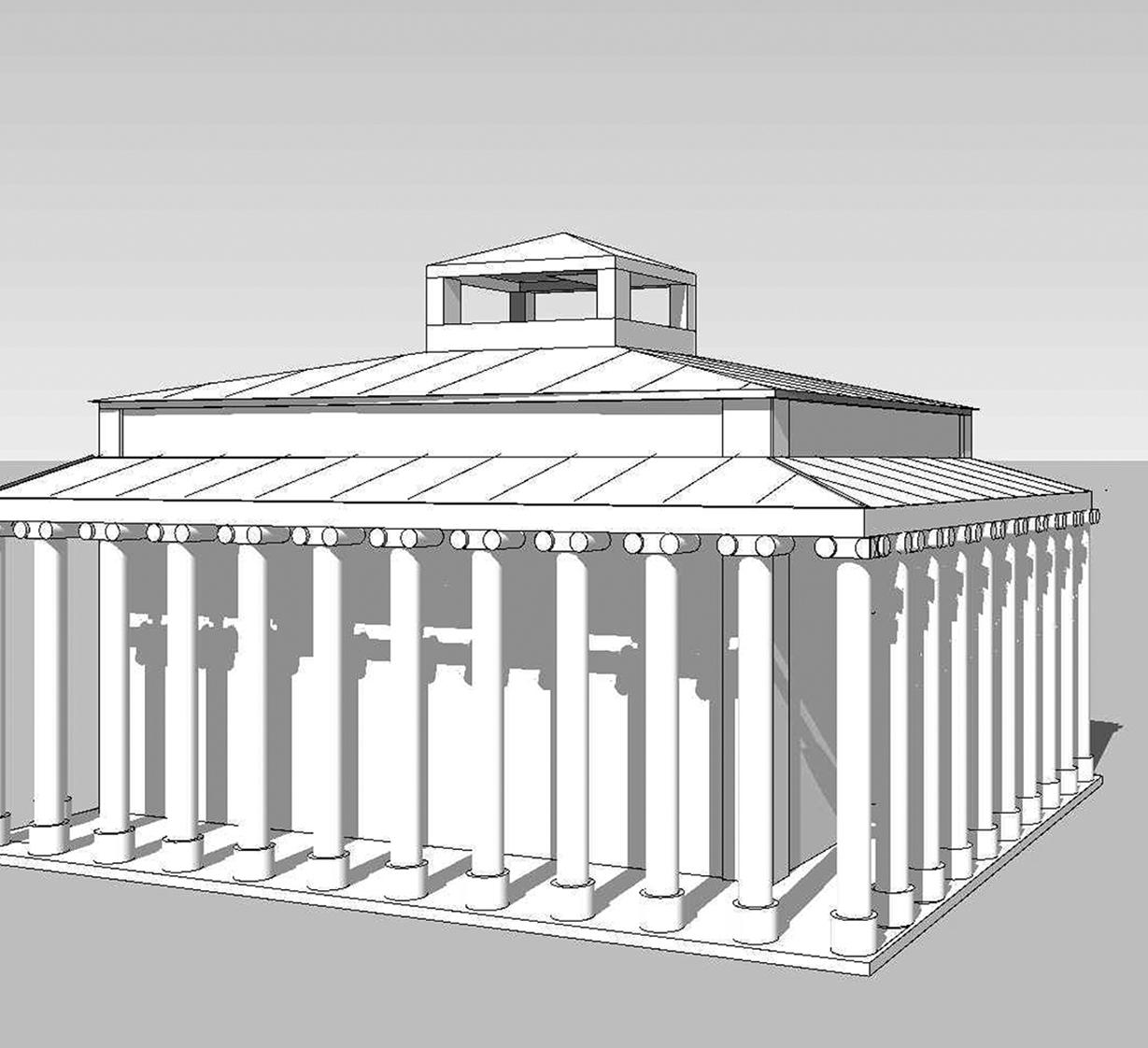 Figure 5 : temple d'Athéna, proposition R. Étienne-J.-PBraun, esquisse de la façade Est (A) et axonométrie, vue de l'angle Sud-Ouest (B).